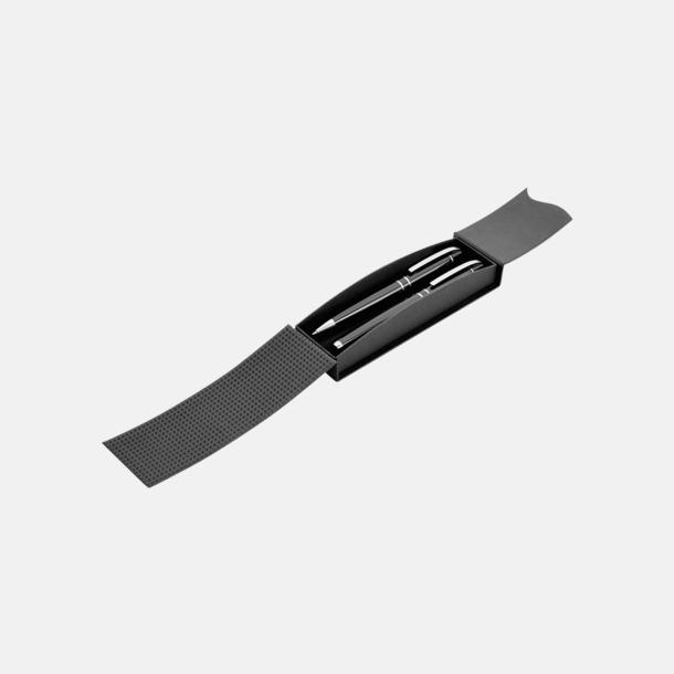Magnetstängning svart (öppen) Plastpennor med silverspets med reklamtryck