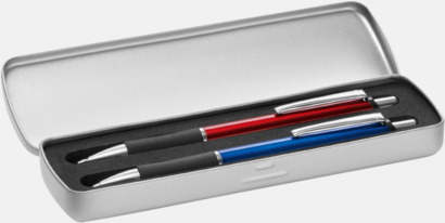 Metalletui 2 silver (öppen) Soft touch-pennor i solida färger med reklamtryck