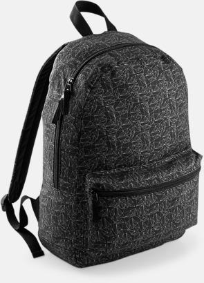 Black Geometric Mönstrade ryggsäckar med reklamtryck