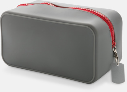 Grå / Röd Silikonnecessärer med reklamtryck