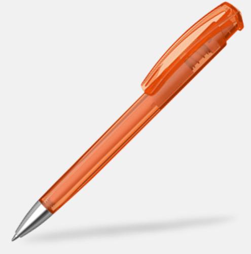 Orange (transparent) Plastpennor med silverspets med reklamtryck