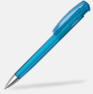 Ljusblå (transparent) Plastpennor med silverspets med reklamtryck
