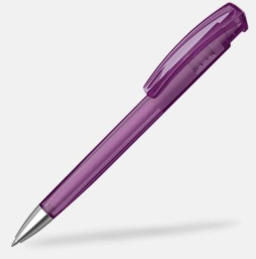 Violet (transparent) Plastpennor med silverspets med reklamtryck