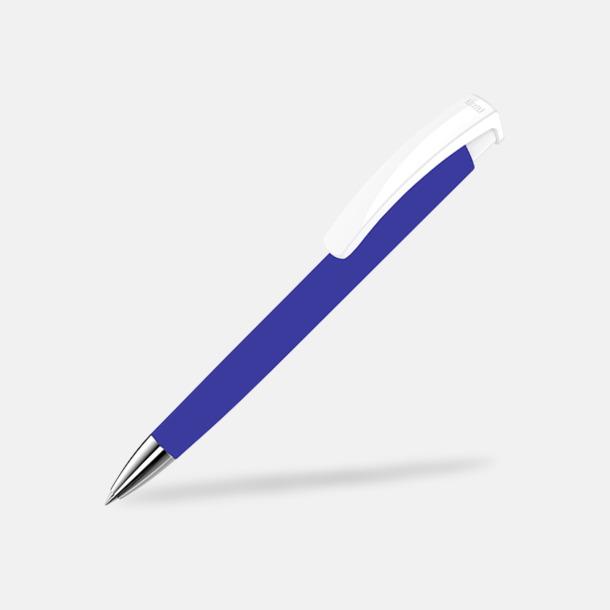 Mörkblå/Vit Soft touch-pennor i solida färger med reklamtryck