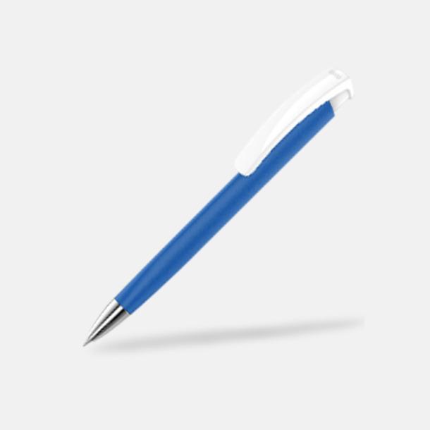 Mediumblå/Vit Soft touch-pennor i solida färger med reklamtryck
