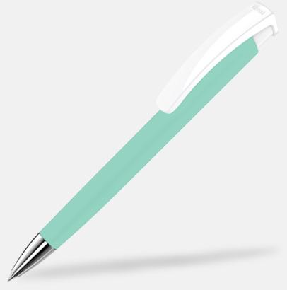 Petrol/Vit Soft touch-pennor i solida färger med reklamtryck