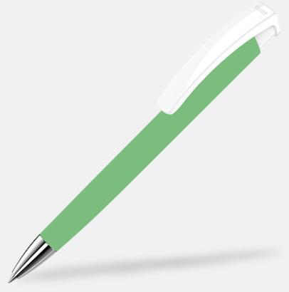 Mörkgrön / Vit Soft touch-pennor i solida färger med reklamtryck