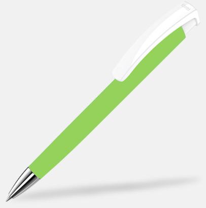 Ljusgrön/Vit Soft touch-pennor i solida färger med reklamtryck