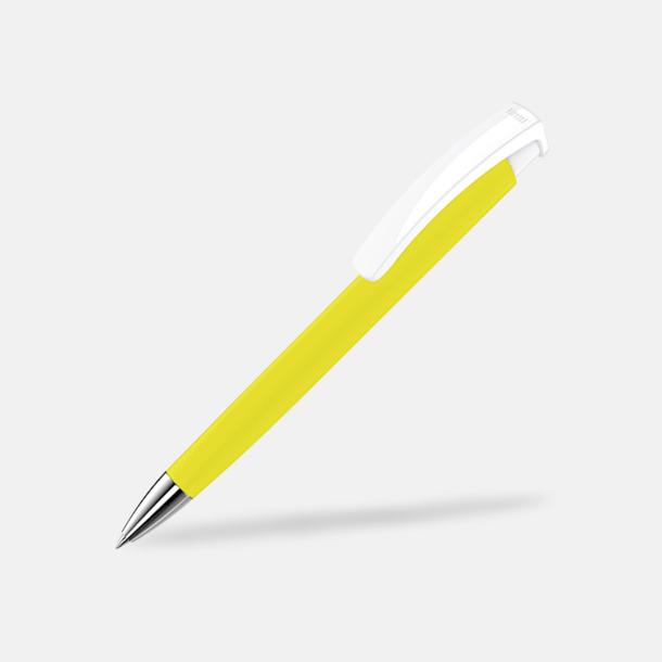 Gul / Vit Soft touch-pennor i solida färger med reklamtryck