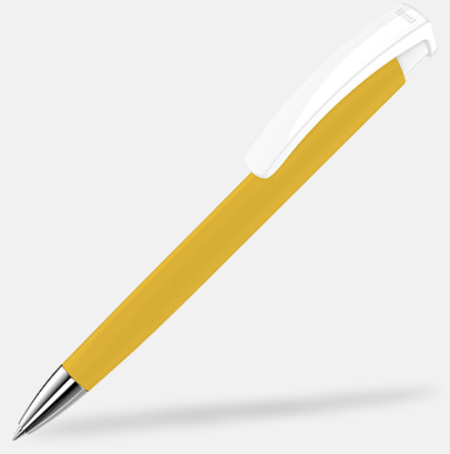 Ochre/Vit Soft touch-pennor i solida färger med reklamtryck
