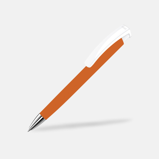 Orange / Vit Soft touch-pennor i solida färger med reklamtryck