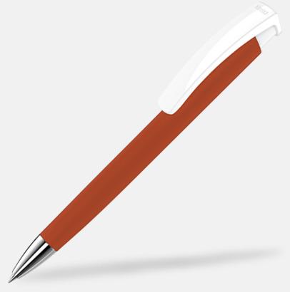 Röd / Vit Soft touch-pennor i solida färger med reklamtryck