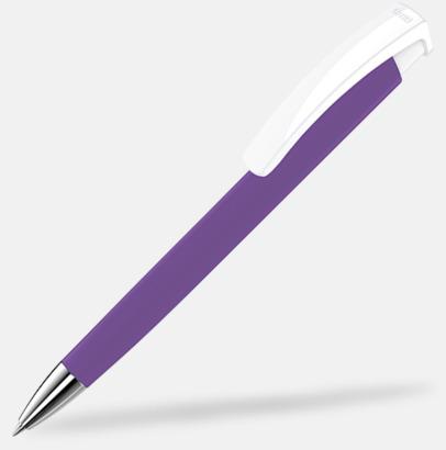 Violet/Vit Soft touch-pennor i solida färger med reklamtryck