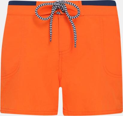 Orange/Marinblå (dam) Badbyxor för herr och dam med reklamtryck