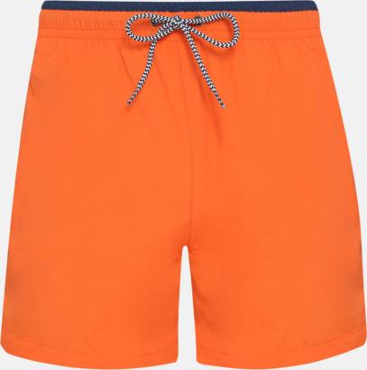 Orange/Marinblå (herr) Badbyxor för herr och dam med reklamtryck