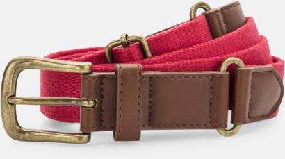Cherry Red Konstläder & canvas bälten med reklamtryck