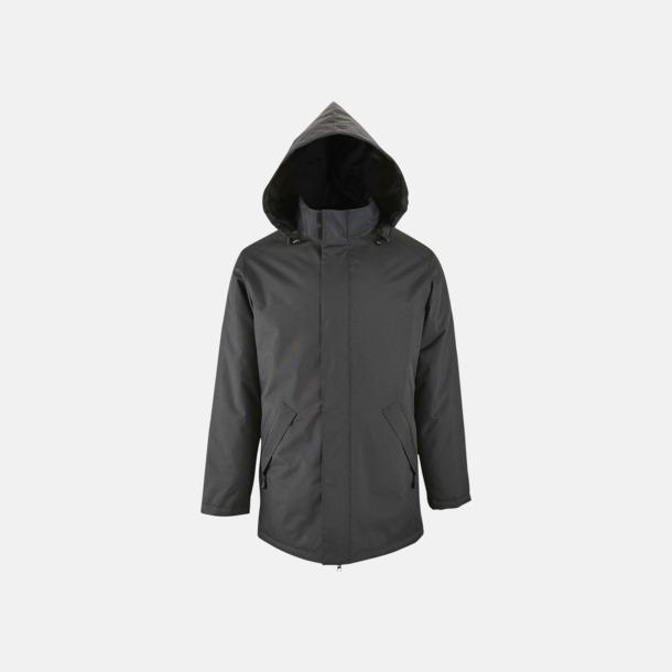 Charcoal Grey (solid) Vadderade jackor i unisexmodell med reklamtryck