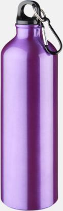 Lila Större sportflaskor med karbinhake - med reklamtryck