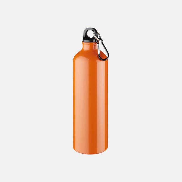 Orange Större sportflaskor med karbinhake - med reklamtryck