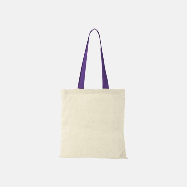 Lavendel Bomullskassar med handtag i annan färg - med reklamtryck