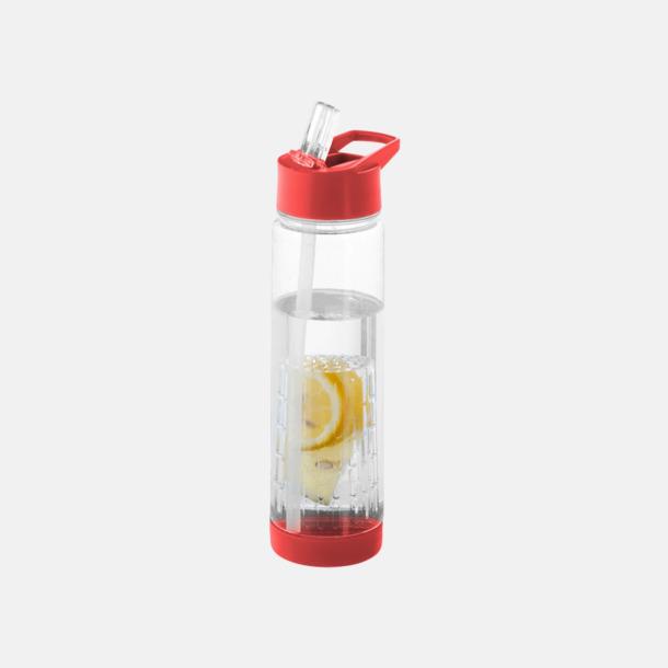 Röd Vattenflaska med kolv för smaksättning - med reklamtryck