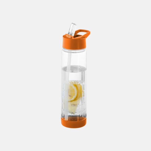 Orange Vattenflaska med kolv för smaksättning - med reklamtryck