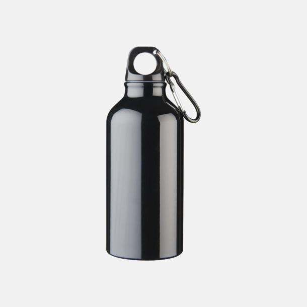 Svart Billig vattenflaska aluminium med egen logo