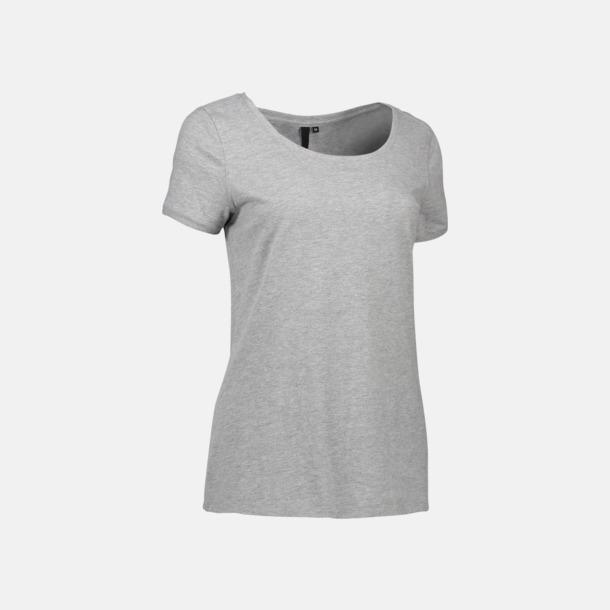 Grey Melange (dam) Snygga bas t-shirts med reklamtryck