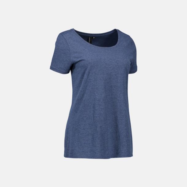 Blue Melange (dam) Snygga bas t-shirts med reklamtryck
