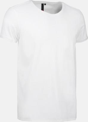 Vit (herr) Snygga bas t-shirts med reklamtryck