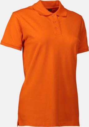 Orange (dam) Stretchiga pikéer med reklamtryck