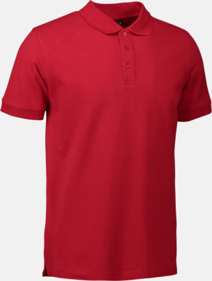 Röd (herr) Stretchiga pikéer med reklamtryck