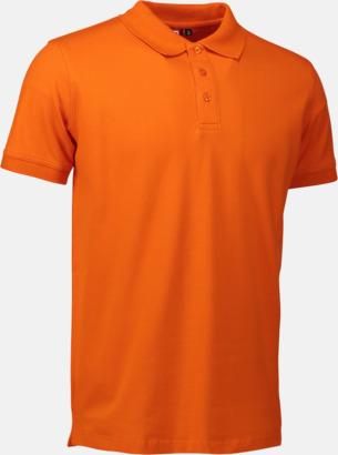 Orange (herr) Stretchiga pikéer med reklamtryck
