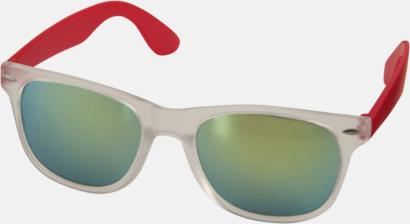 Röd Solglasögon med spegellinser - med reklamtryck