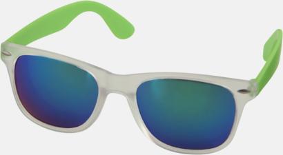 Limegrön Solglasögon med spegellinser - med reklamtryck