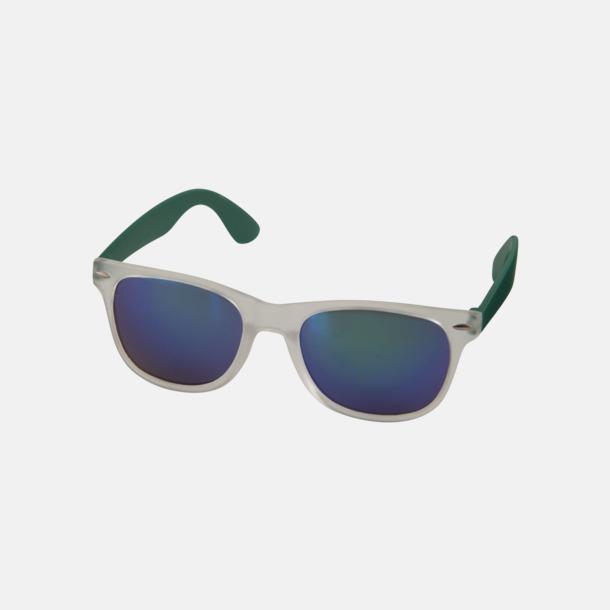 Grön Solglasögon med spegellinser - med reklamtryck
