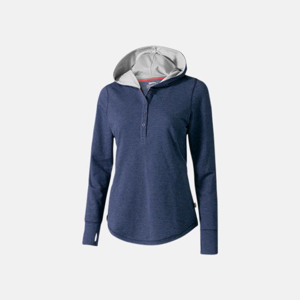 Heather Blue (dam) Knappförsedda huvtröjor med reklamtryck