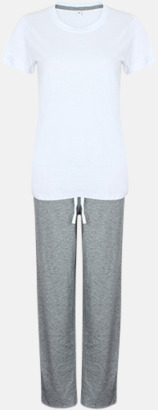 Vit/Heather Grey (long) 2 varianter av pyjamasset i påse med reklamtryck