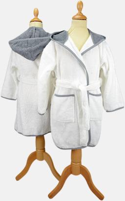 Vit/Anthracite Grey Badrockar för barn - med reklamtryck