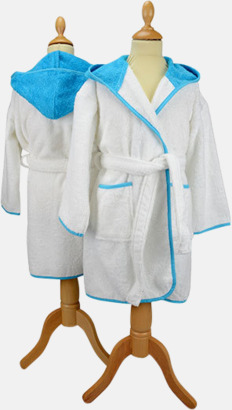 Vit/Aqua Blue Badrockar för barn - med reklamtryck