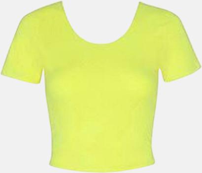 Neon Yellow Kortade toppar med reklamtryck