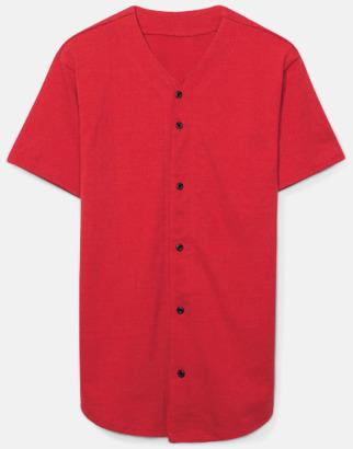 Röd Knappförsedda t-shirts med reklamtryck