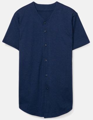 Marinblå Knappförsedda t-shirts med reklamtryck