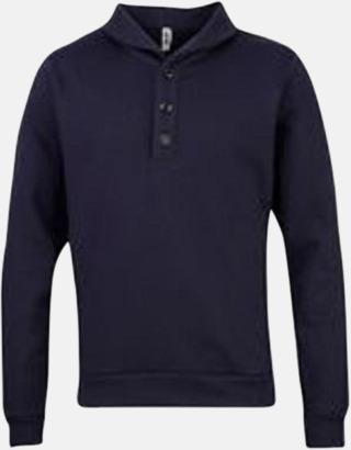 Dark Navy Knappförsedda sweatshirts med reklamtryck