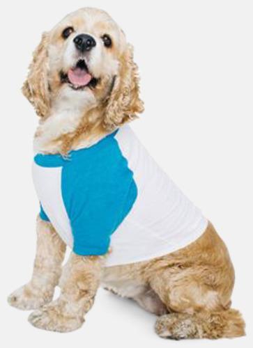 Vit/Neon Heather Blue Raglan t-shirts för hundar - med reklamtryck