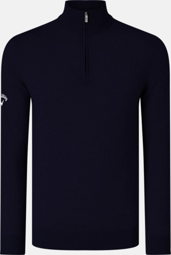 Peacoat Navy Blixtlåsförsedda ulltröjor från Callaway med reklamtryck