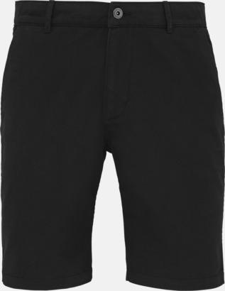 Svart (herr) Herr- & damchino shorts med reklamtryck
