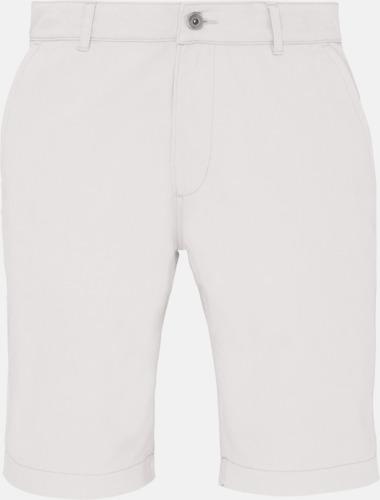 Vit (herr) Herr- & damchino shorts med reklamtryck