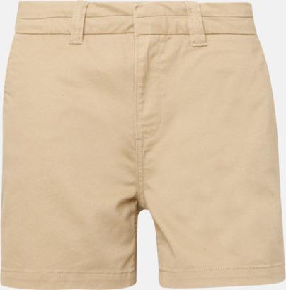 Khaki (dam) Herr- & damchino shorts med reklamtryck