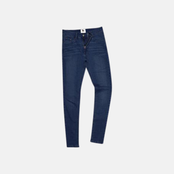 Dark Blue Wash (dam) Tighta jeans med reklamlogo